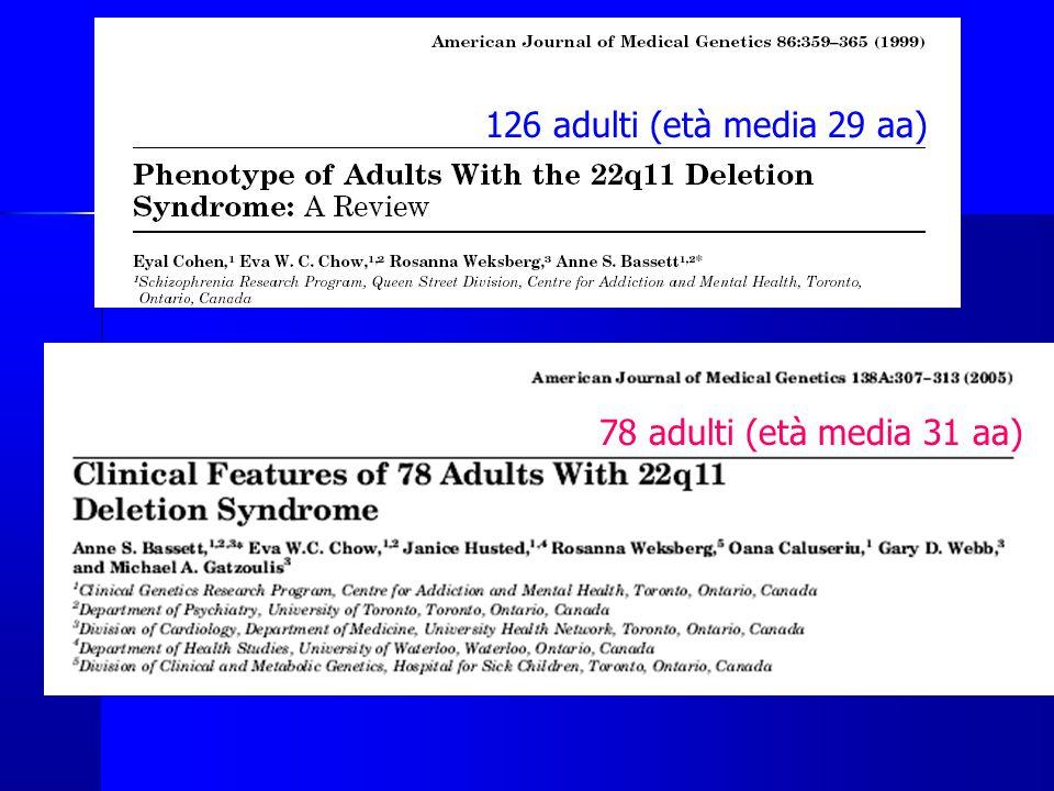 126 adulti (età media 29 aa) 78 adulti (età media 31 aa) Valutazione di 78 adulti con sindrome del 22q11.