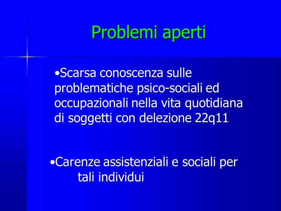 Problemi aperti Scarsa conoscenza sulle problematiche psico-sociali ed occupazionali nella vita quotidiana di soggetti con delezione 22q11.