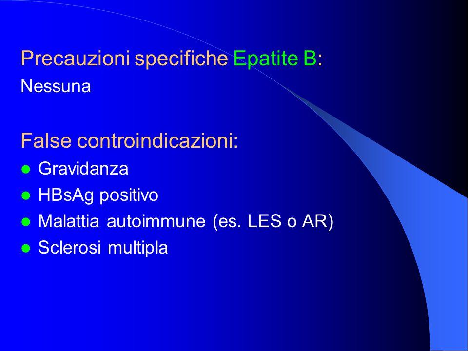 Precauzioni specifiche Epatite B: