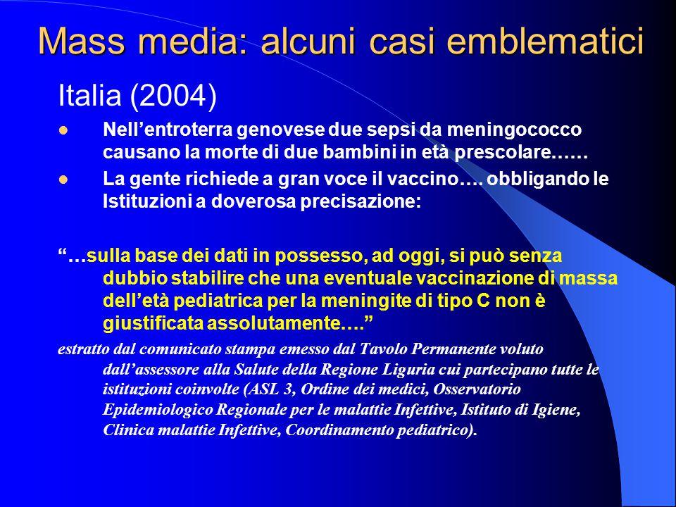 Mass media: alcuni casi emblematici