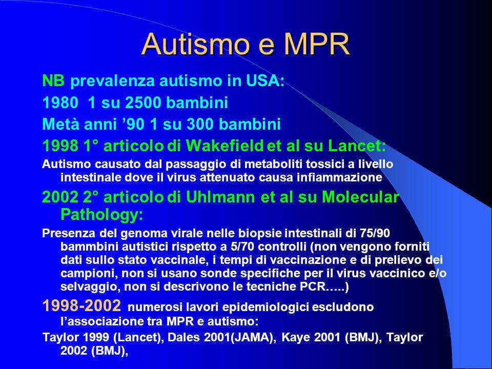 Autismo e MPR NB prevalenza autismo in USA: 1980 1 su 2500 bambini