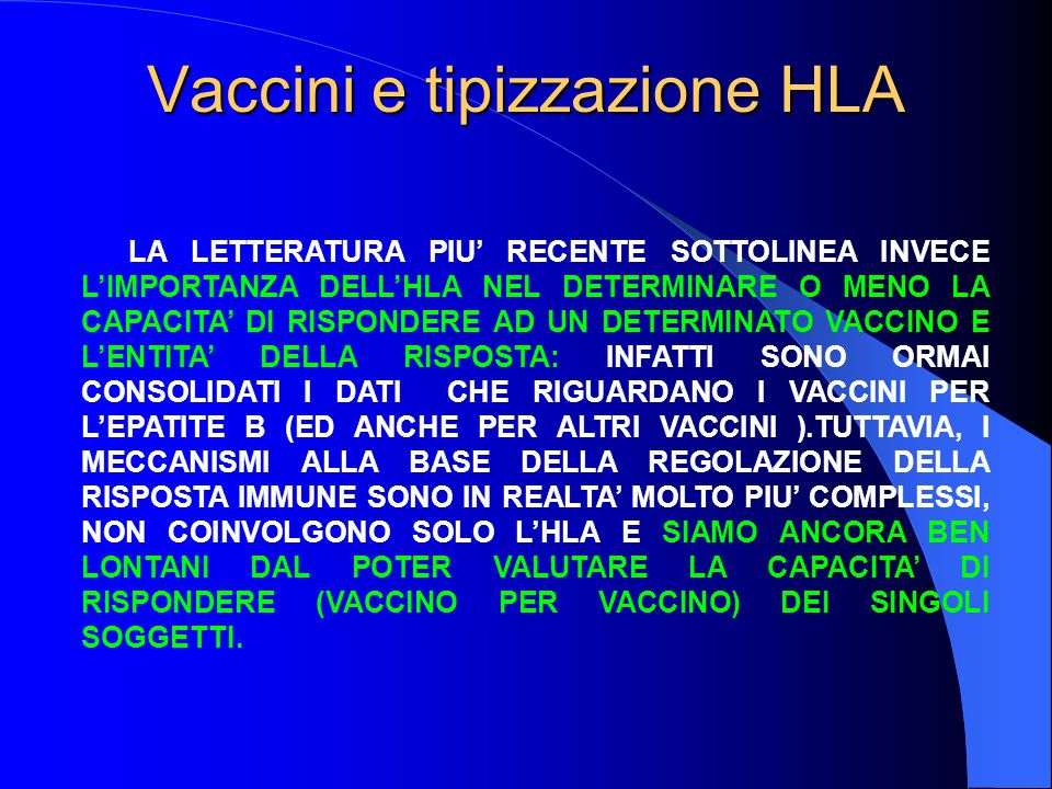Vaccini e tipizzazione HLA