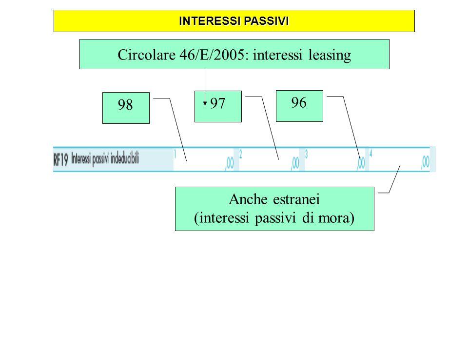 Circolare 46/E/2005: interessi leasing