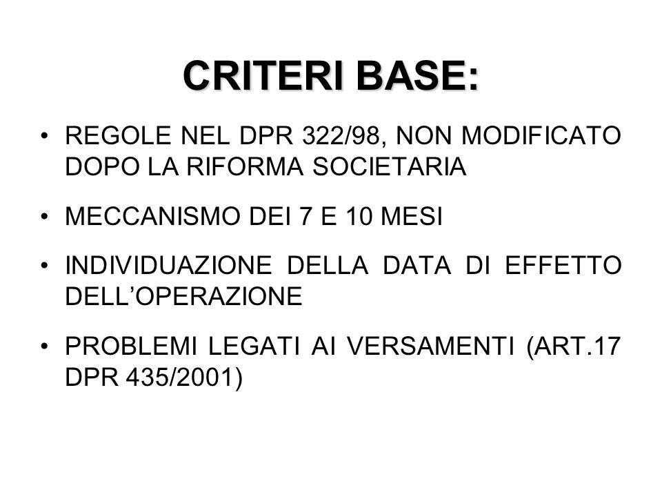 CRITERI BASE: REGOLE NEL DPR 322/98, NON MODIFICATO DOPO LA RIFORMA SOCIETARIA. MECCANISMO DEI 7 E 10 MESI.