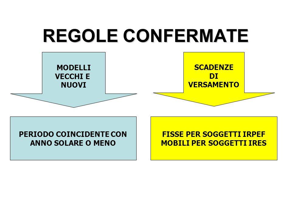 REGOLE CONFERMATE MODELLI VECCHI E NUOVI SCADENZE DI VERSAMENTO