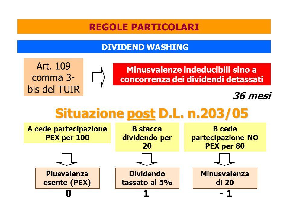 Situazione post D.L. n.203/05 REGOLE PARTICOLARI