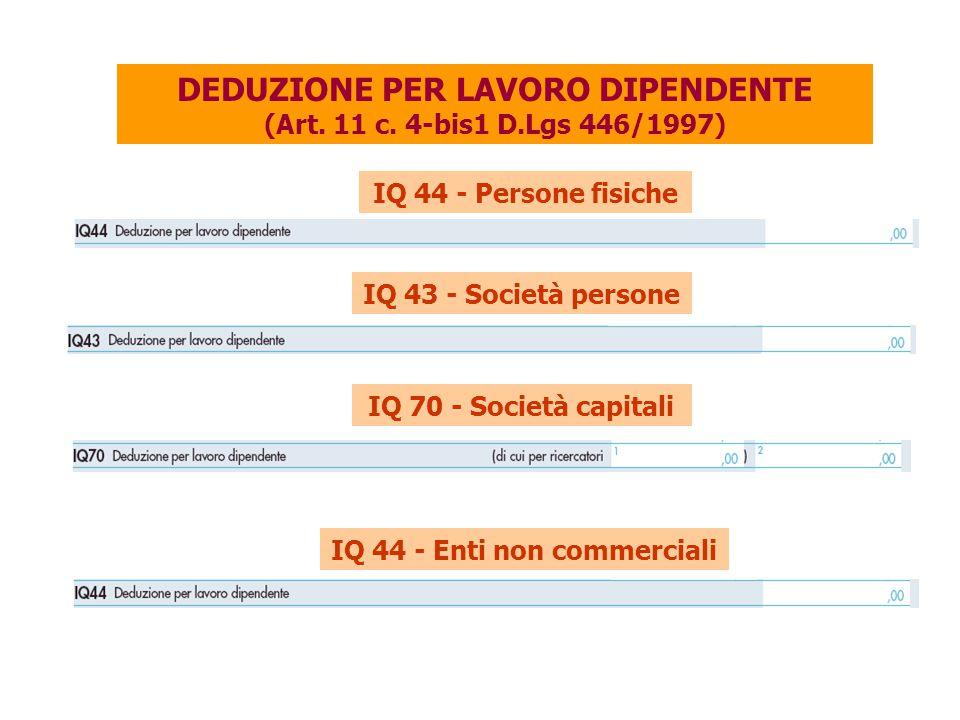 DEDUZIONE PER LAVORO DIPENDENTE (Art. 11 c. 4-bis1 D.Lgs 446/1997)