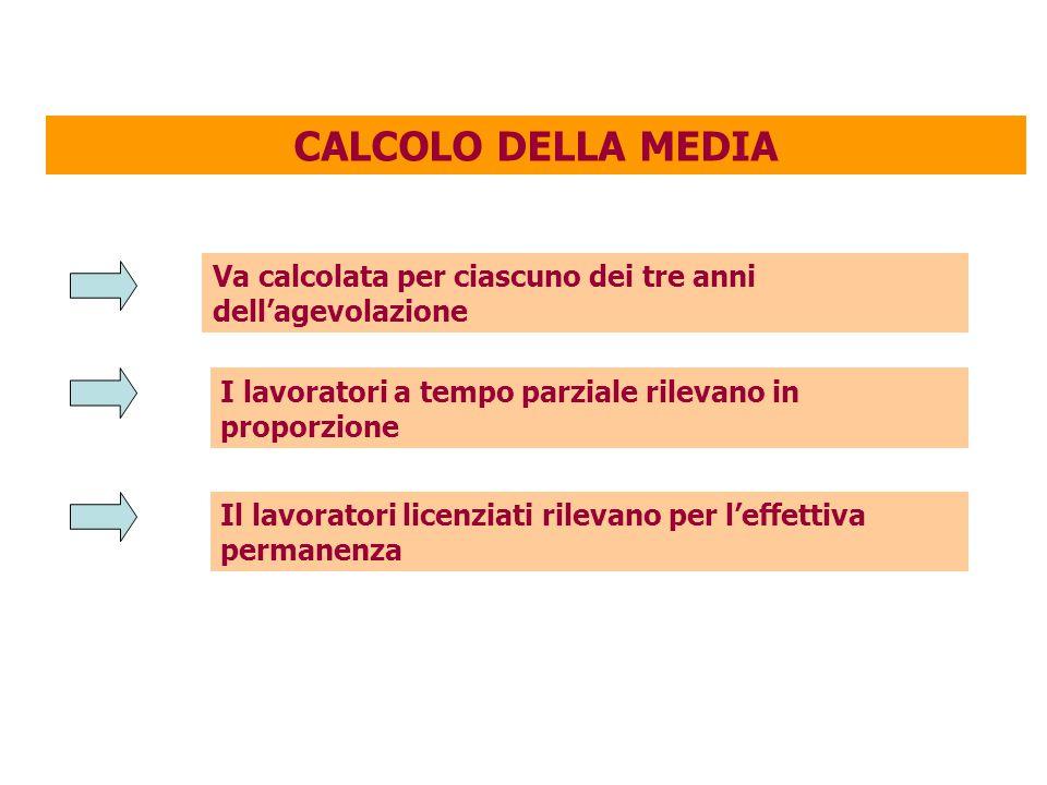 CALCOLO DELLA MEDIA Va calcolata per ciascuno dei tre anni dell'agevolazione. I lavoratori a tempo parziale rilevano in proporzione.