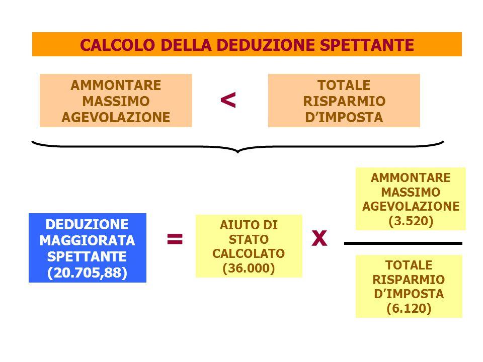< x = CALCOLO DELLA DEDUZIONE SPETTANTE