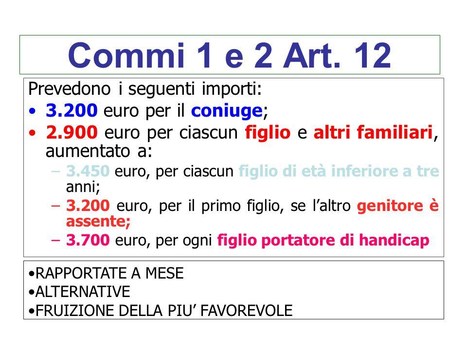 Commi 1 e 2 Art. 12 Prevedono i seguenti importi: