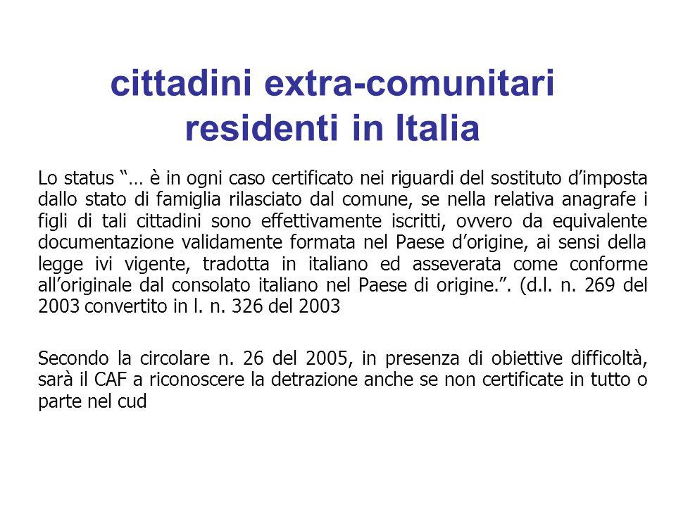 cittadini extra-comunitari residenti in Italia