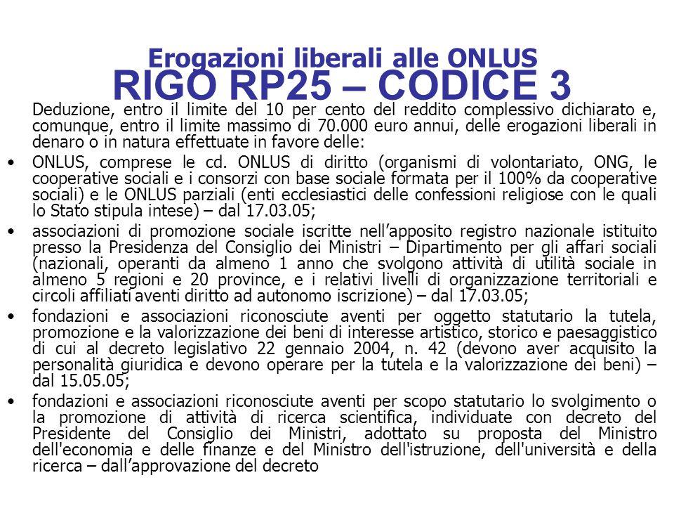 Erogazioni liberali alle ONLUS RIGO RP25 – CODICE 3