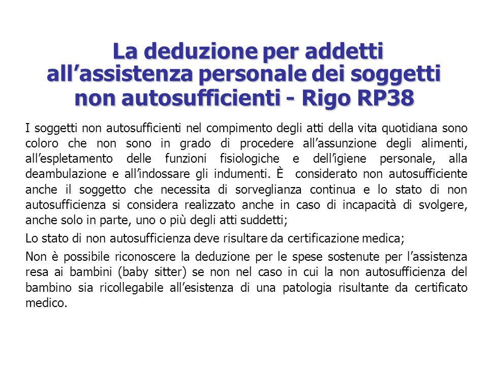 La deduzione per addetti all'assistenza personale dei soggetti non autosufficienti - Rigo RP38