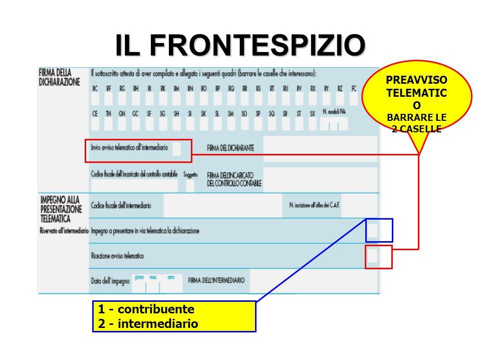 IL FRONTESPIZIO 1 - contribuente 2 - intermediario PREAVVISO
