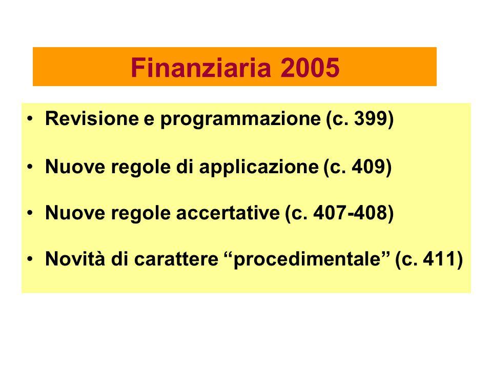 Finanziaria 2005 Revisione e programmazione (c. 399)
