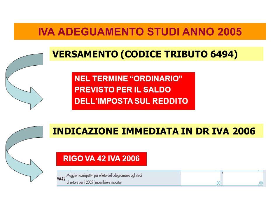 IVA ADEGUAMENTO STUDI ANNO 2005