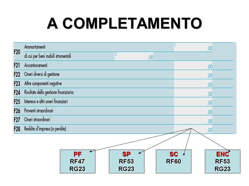 A COMPLETAMENTO PF RF47 RG23 SP RF53 RG23 SC RF60 ENC RF53 RG23