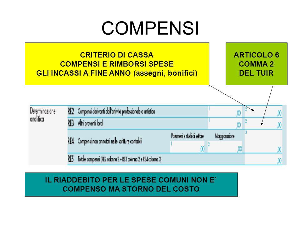 COMPENSI CRITERIO DI CASSA COMPENSI E RIMBORSI SPESE