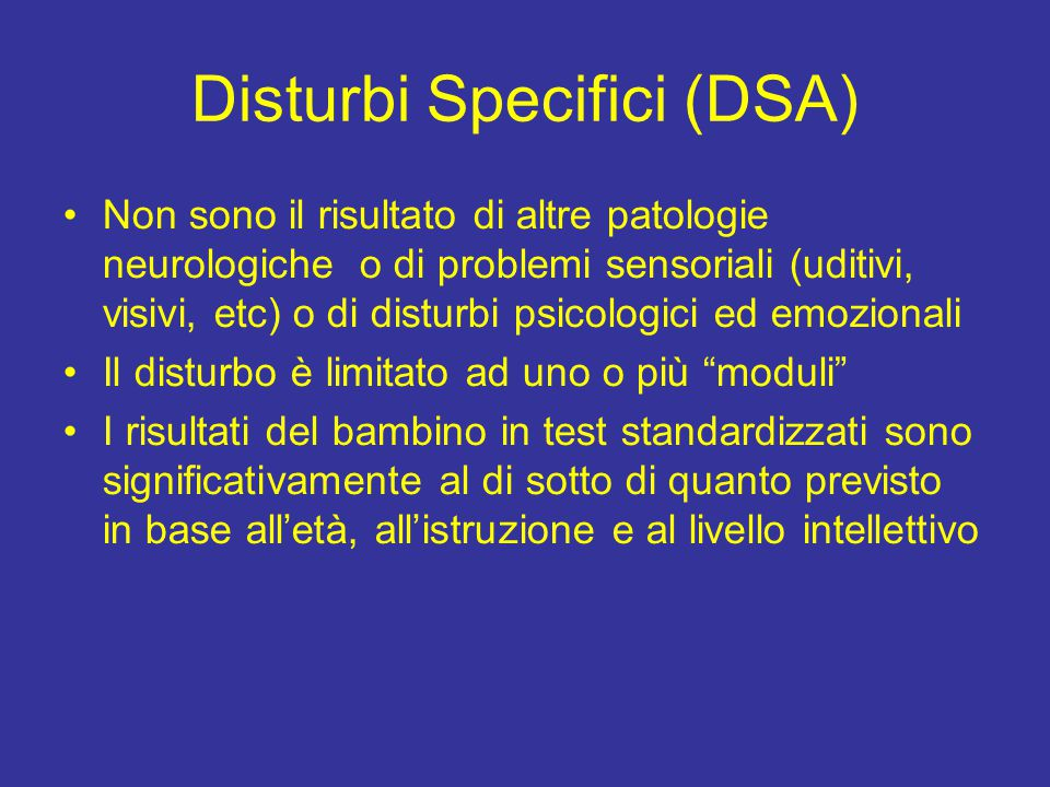 Disturbi Specifici (DSA)