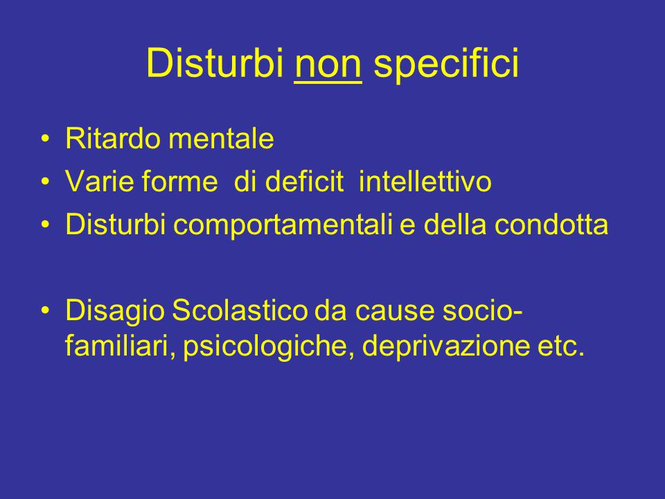 Disturbi non specifici