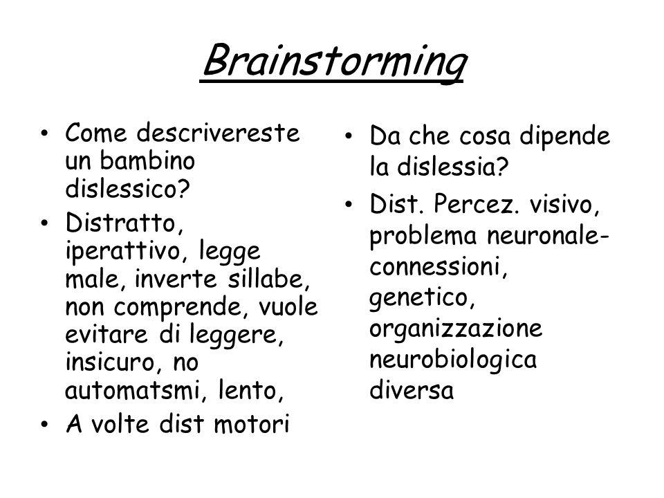 Brainstorming Come descrivereste un bambino dislessico