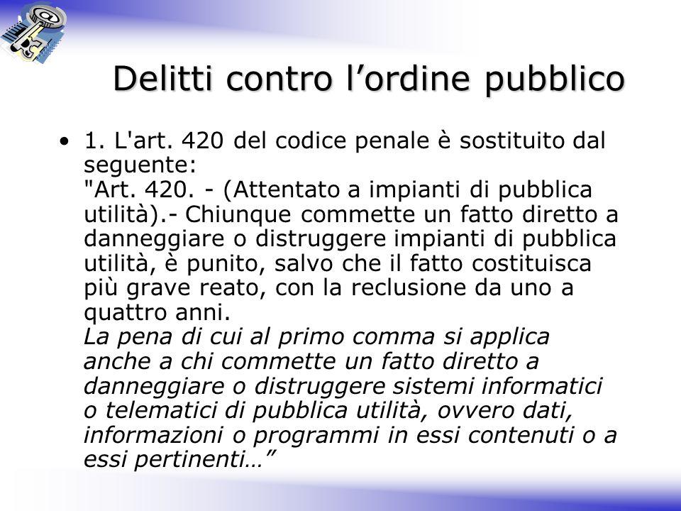 Delitti contro l'ordine pubblico
