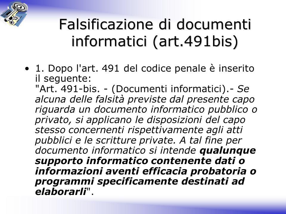 Falsificazione di documenti informatici (art.491bis)