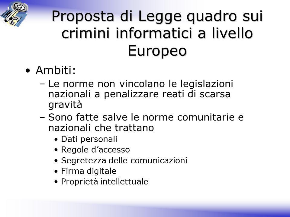 Proposta di Legge quadro sui crimini informatici a livello Europeo