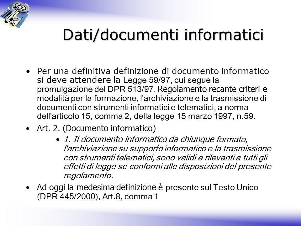 Dati/documenti informatici