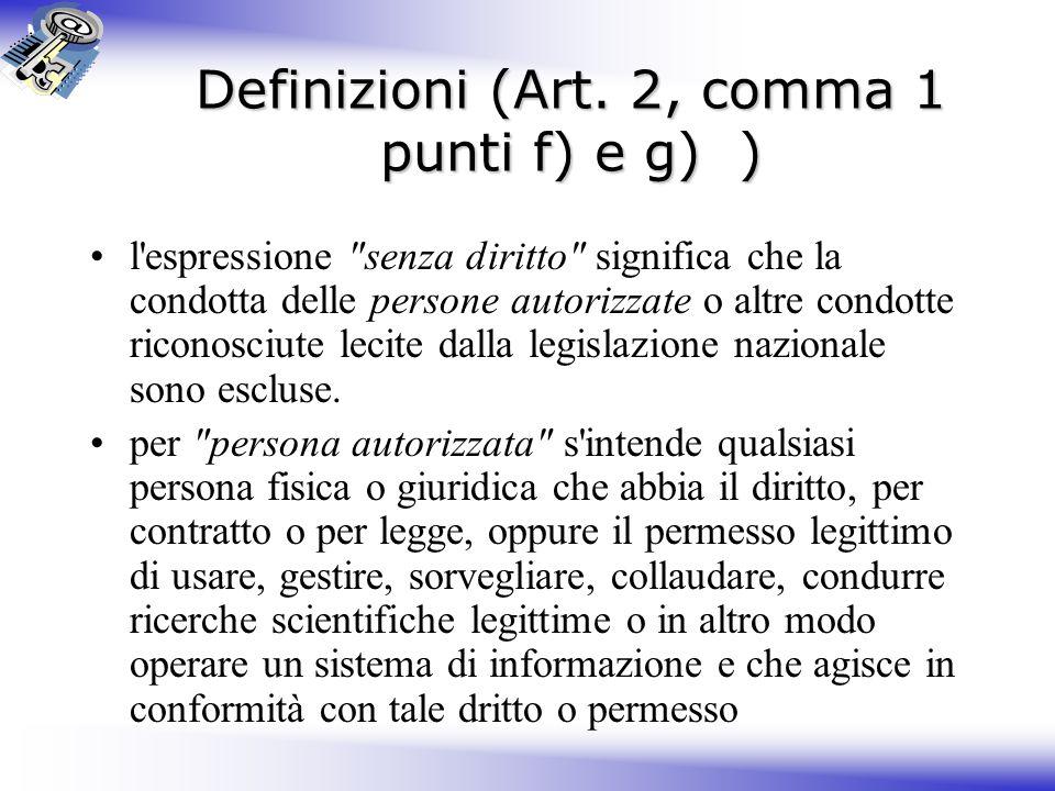 Definizioni (Art. 2, comma 1 punti f) e g) )