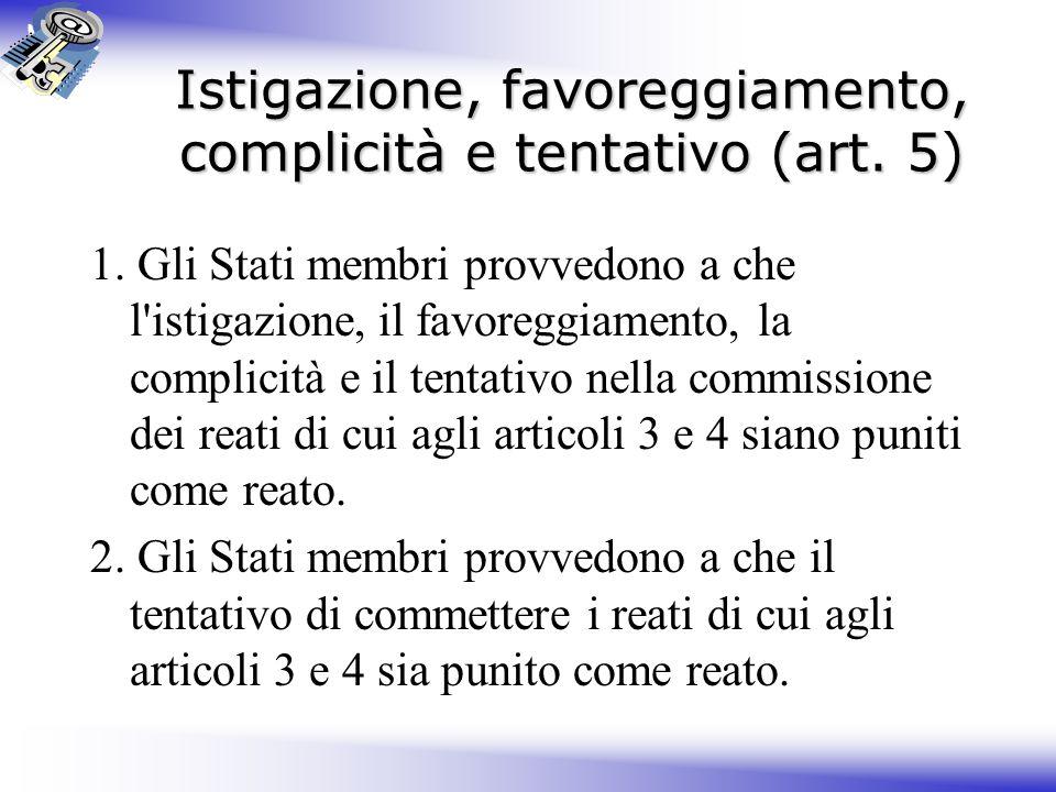 Istigazione, favoreggiamento, complicità e tentativo (art. 5)