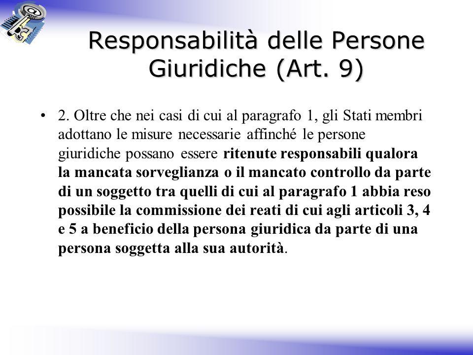 Responsabilità delle Persone Giuridiche (Art. 9)