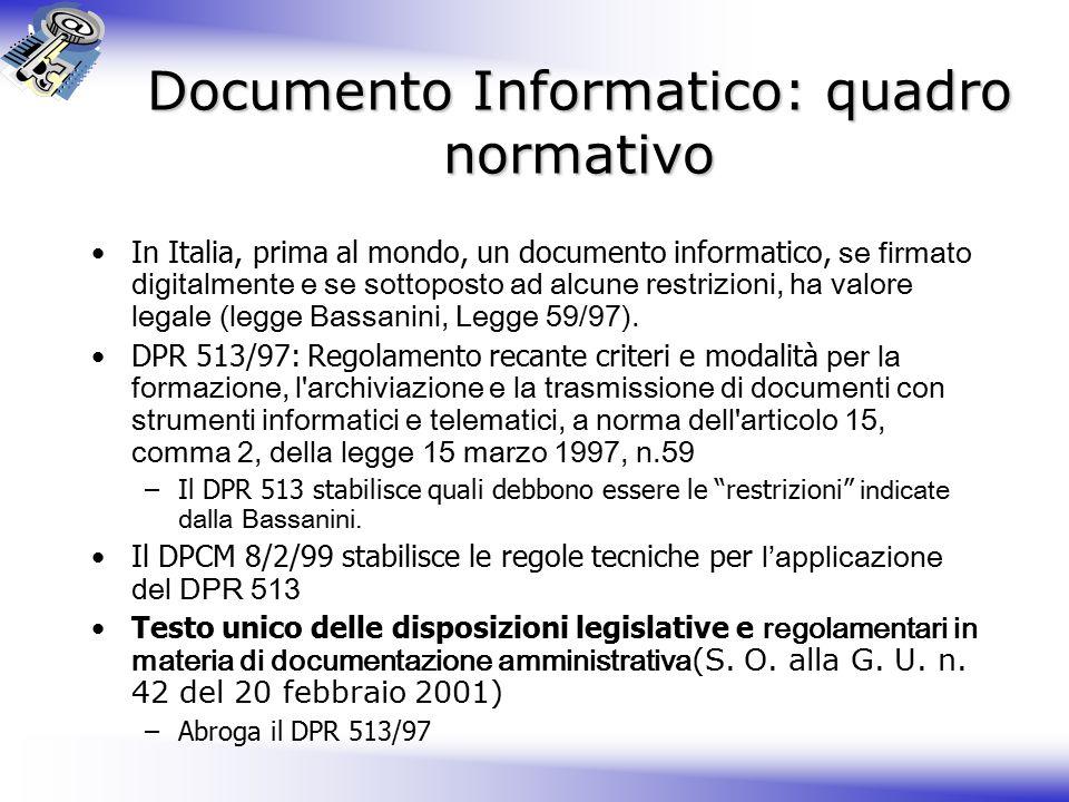 Documento Informatico: quadro normativo