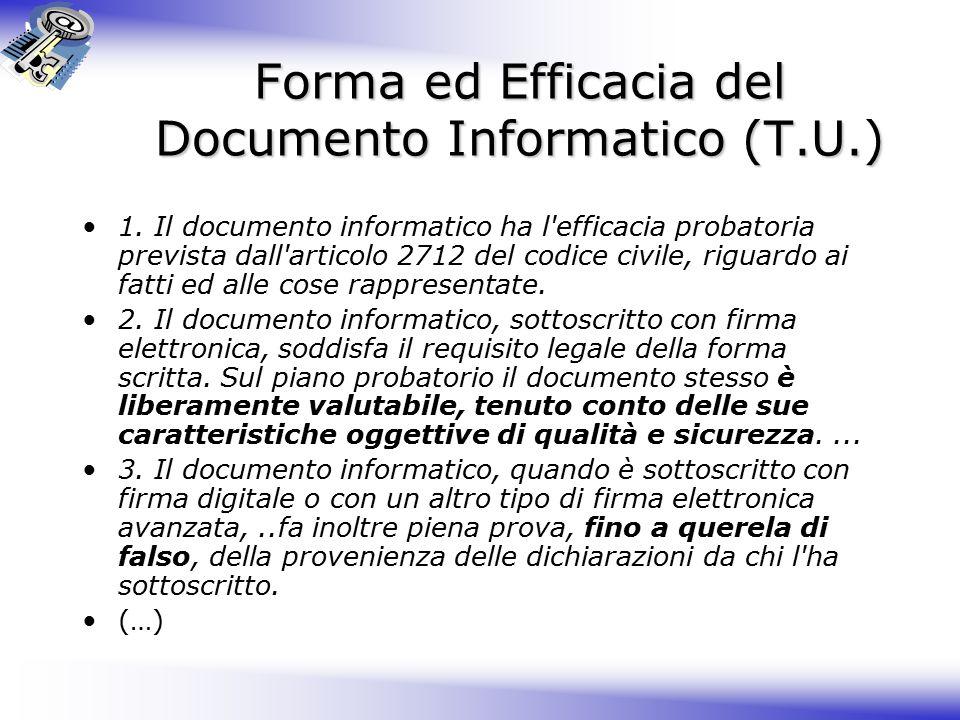 Forma ed Efficacia del Documento Informatico (T.U.)