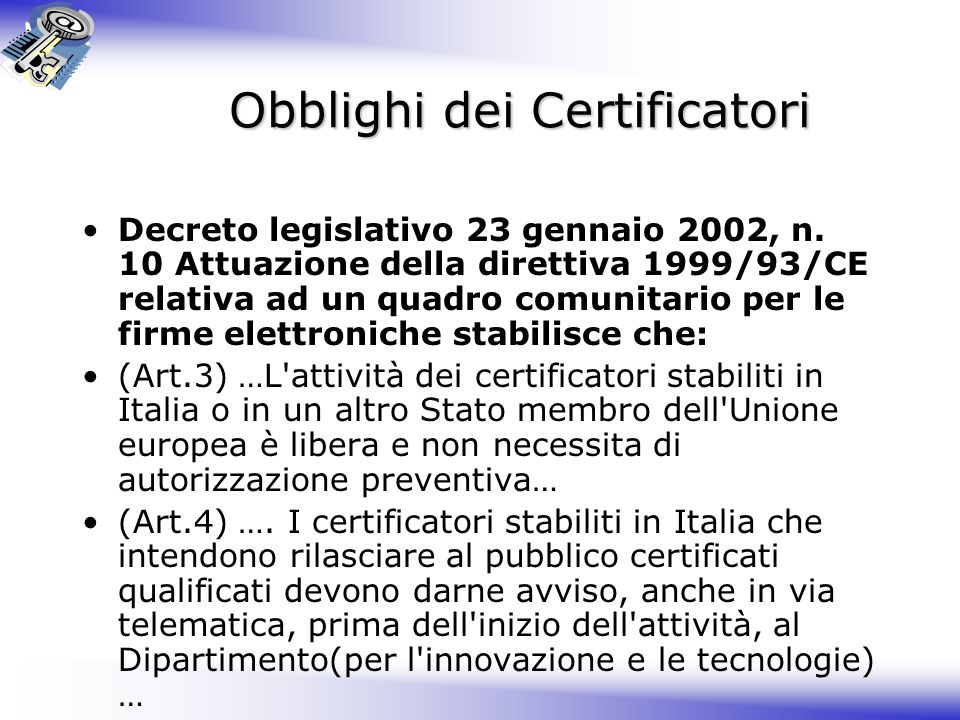 Obblighi dei Certificatori