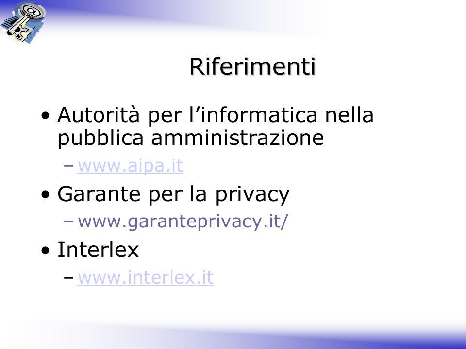 Riferimenti Autorità per l'informatica nella pubblica amministrazione