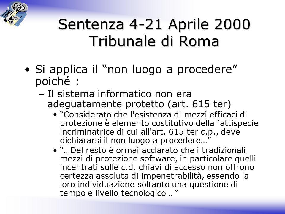 Sentenza 4-21 Aprile 2000 Tribunale di Roma