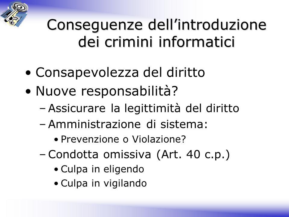 Conseguenze dell'introduzione dei crimini informatici