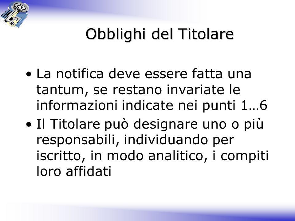 Obblighi del Titolare La notifica deve essere fatta una tantum, se restano invariate le informazioni indicate nei punti 1…6.