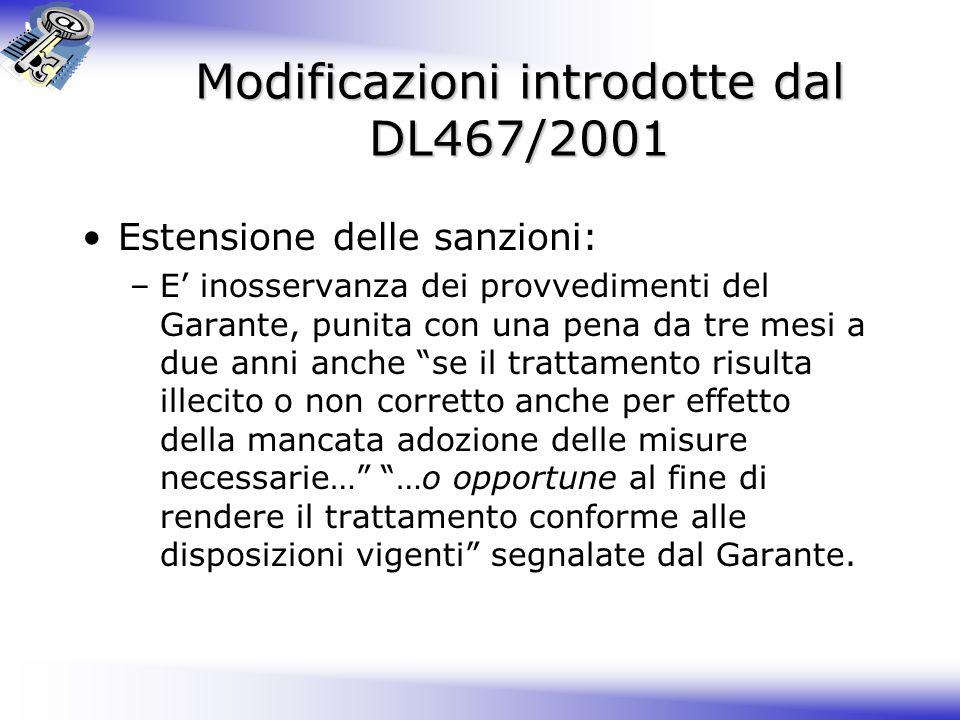 Modificazioni introdotte dal DL467/2001