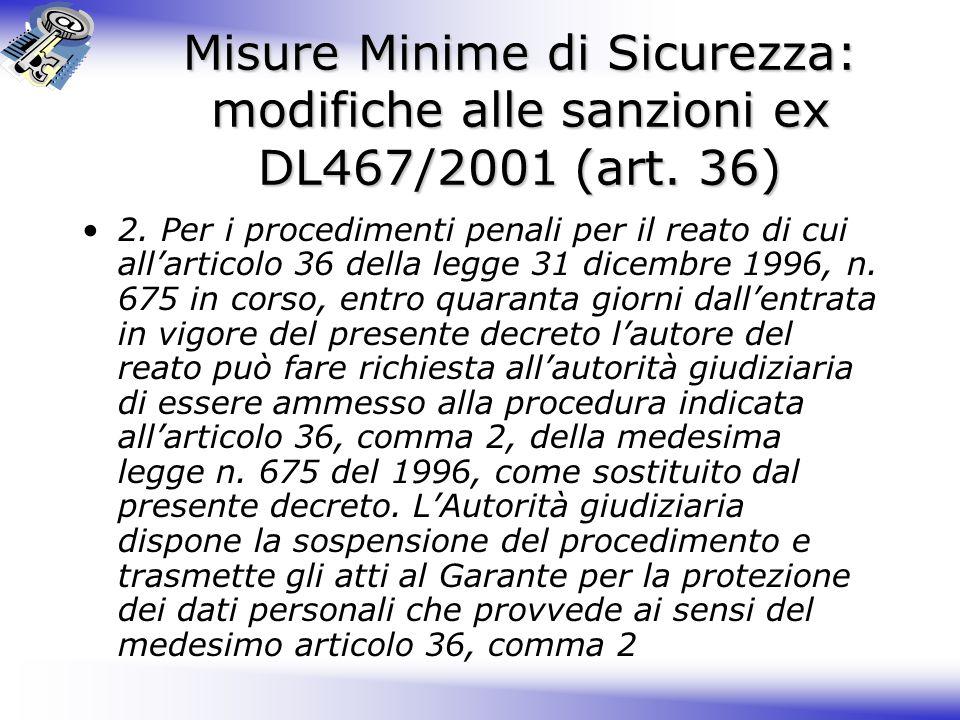 Misure Minime di Sicurezza: modifiche alle sanzioni ex DL467/2001 (art