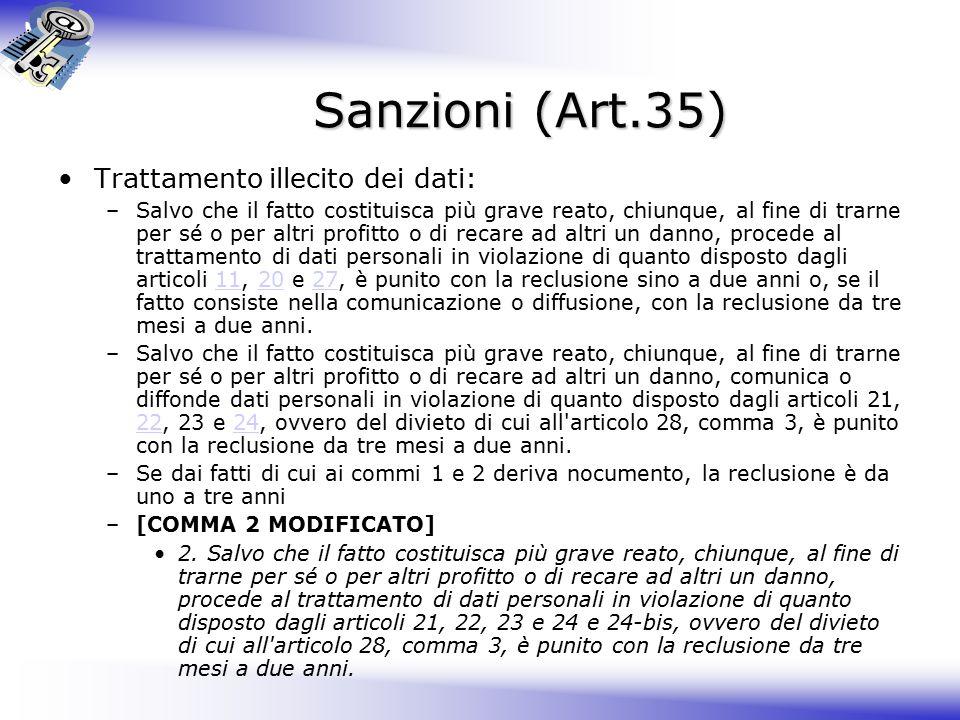 Sanzioni (Art.35) Trattamento illecito dei dati: