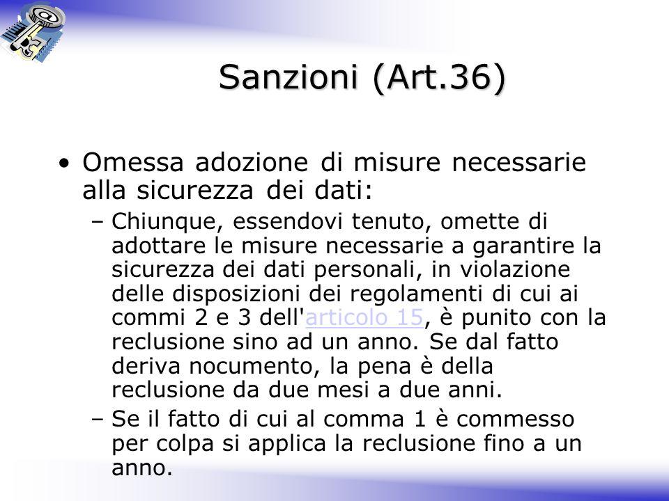 Sanzioni (Art.36) Omessa adozione di misure necessarie alla sicurezza dei dati: