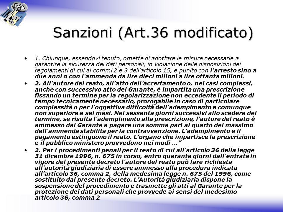 Sanzioni (Art.36 modificato)