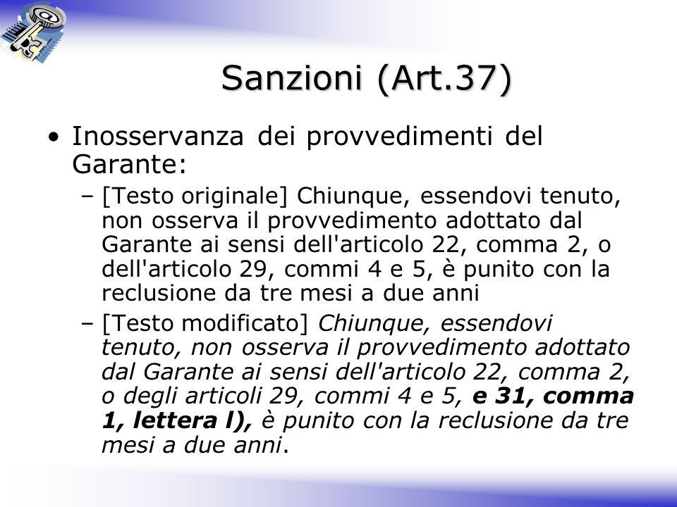 Sanzioni (Art.37) Inosservanza dei provvedimenti del Garante: