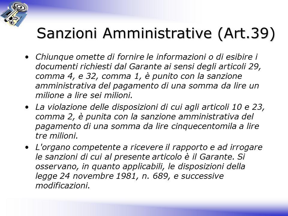 Sanzioni Amministrative (Art.39)