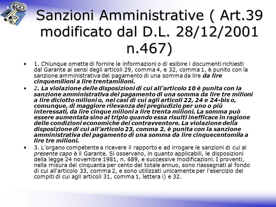 Sanzioni Amministrative ( Art.39 modificato dal D.L. 28/12/2001 n.467)