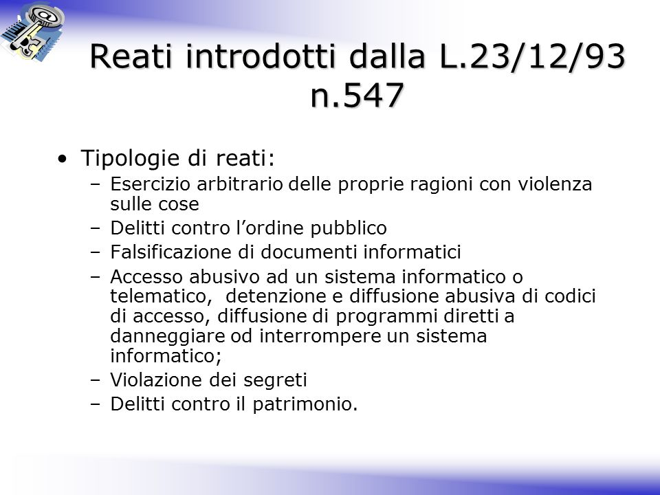 Reati introdotti dalla L.23/12/93 n.547