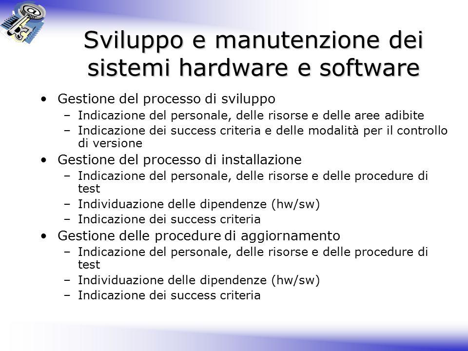 Sviluppo e manutenzione dei sistemi hardware e software