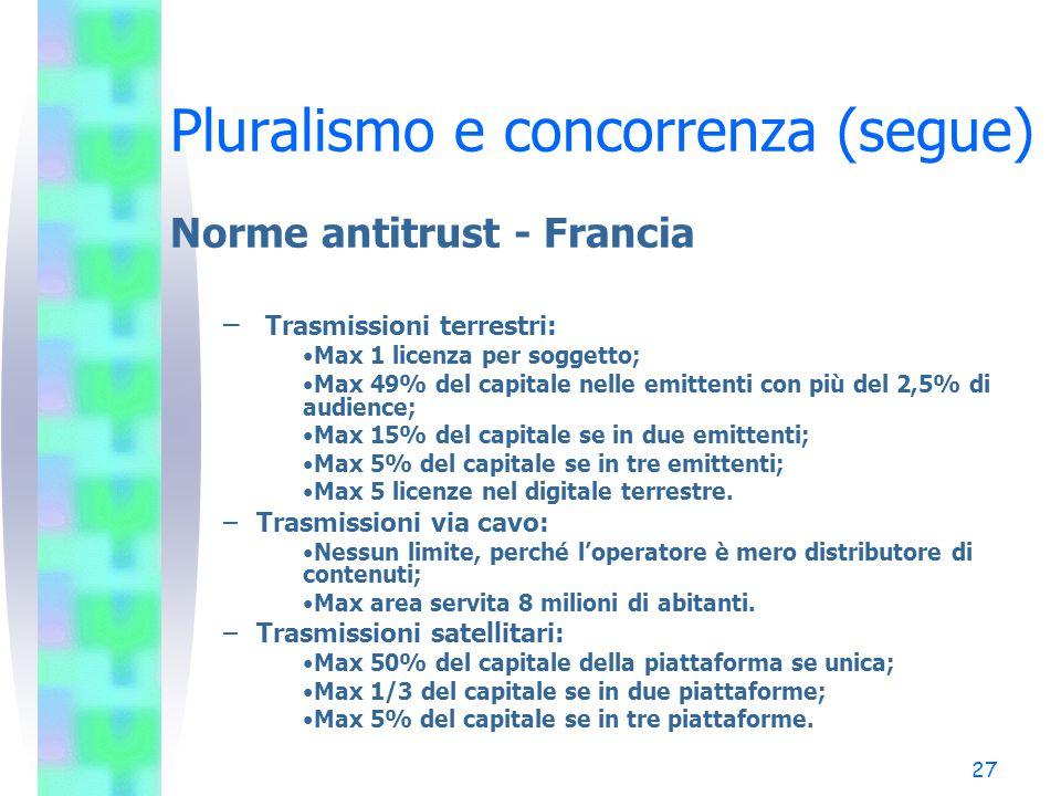 Pluralismo e concorrenza (segue)